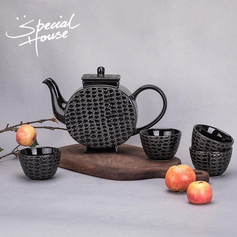 Ev ve Bahçe'ten Çay Takımı Setleri'de Çin yaratıcı Kungfu teaware seti ev modelleme seramik demlik basit çay fincanı el yapımı soğutma su demlik fincan title=