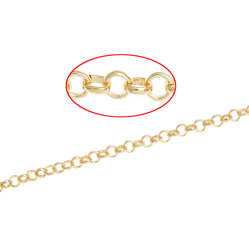 DoreenBeads Alloy Link Cable Chains Gold Color 2.5mm( 1/8