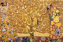 Abstract Gustav Klimt Painting The Tree of Life, Stoclet Frieze,1909 Canvas Wall Art Oil Painting for Living Room Hand Painted
