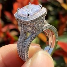 Tamaño 5-10 joyería de moda Vintage 3 uds anillo set 925 plata esterlina cojín forma blanco claro 5A Zirconia cúbica anillo de banda para mujer