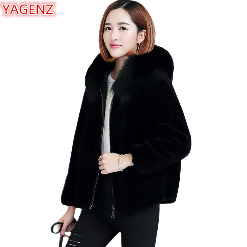 Yagenz De Capuchon Chaud Hiver Renard Veste Jeunes Tops Black À 799 Court Manteau Vêtements Fourrure Mode Femmes Imitation En Fausse RxwPEqCORr