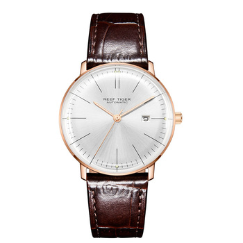2019 Reef Tiger/RT Top Band Luxury Dress Watch for Men Brown Leather Strap Rose Gold Automatic Watch Montre Homme Clock RGA8215 - RGA8215-PWS