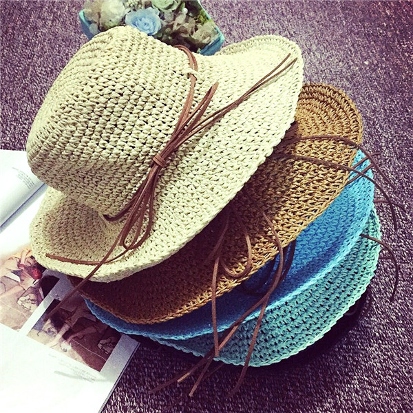 Vintage Hand Woven Bow Big Brim Beach Hat Female S...