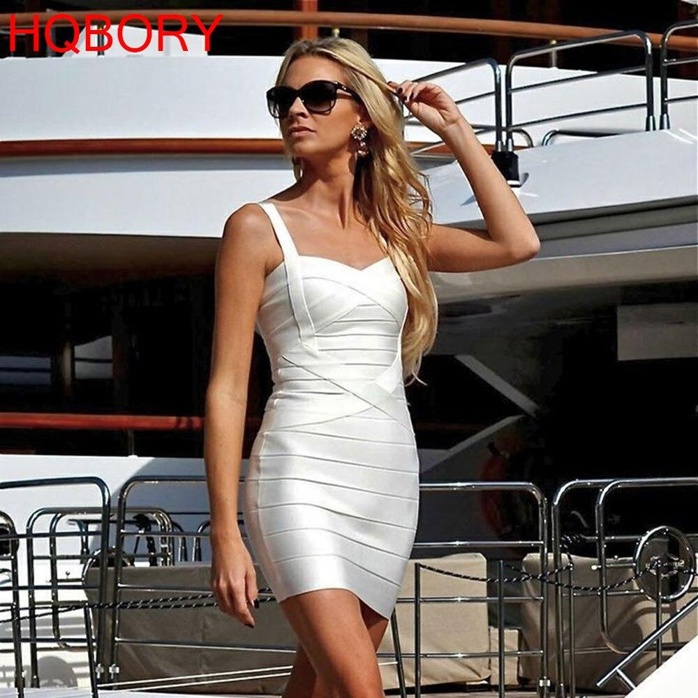 Mini Strap Sleeveless White 2019 Hl Elastic Knitted Sexy Women Ladies Bodycon New Fashion Celebrity Summer Bandage Dress Dresses