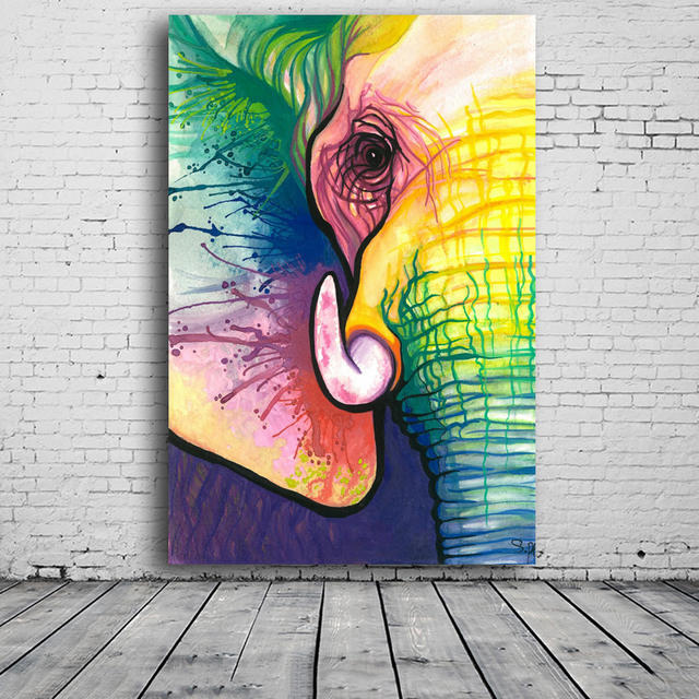 RELIABLI Canvas Art Decorative Painting Elephant Art Print Poster Wall Animal Frameless Picture For Living Room Home Decor 3