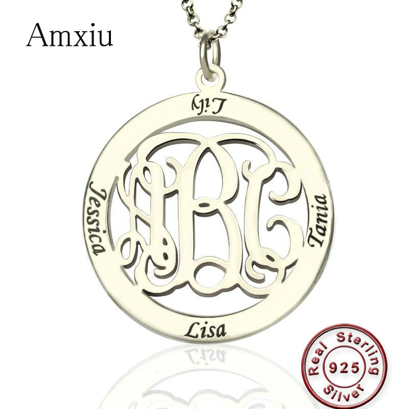 Amxiu Custom 925 Silver Round Pendant Necklace Engrave 1-3 Letter Initials and 4 Names Monogram Necklace For Women Mother's Gift