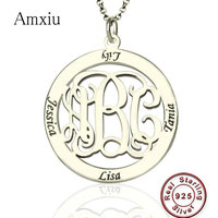Amxiu Custom 925 Silver Round Pendant Necklace Engrave 1 3 Letter Initials and 4 Names Monogram Necklace For Women Mother's Gift