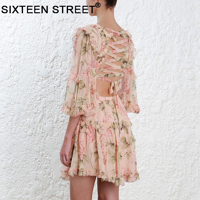 2019 Nieuwe zomer strand mini jurk vrouw spaghetti band kruis backless sexy diepe v print bodycon vestidos mode korte jurk - 4