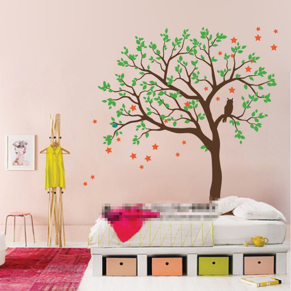 Diy large size owl hoot star tree nursery wall stickers removable diy large size owl hoot star tree nursery wall stickers removable tree wall decals nursery vinyls childrens vinilos d814 in wall stickers from home amipublicfo Gallery
