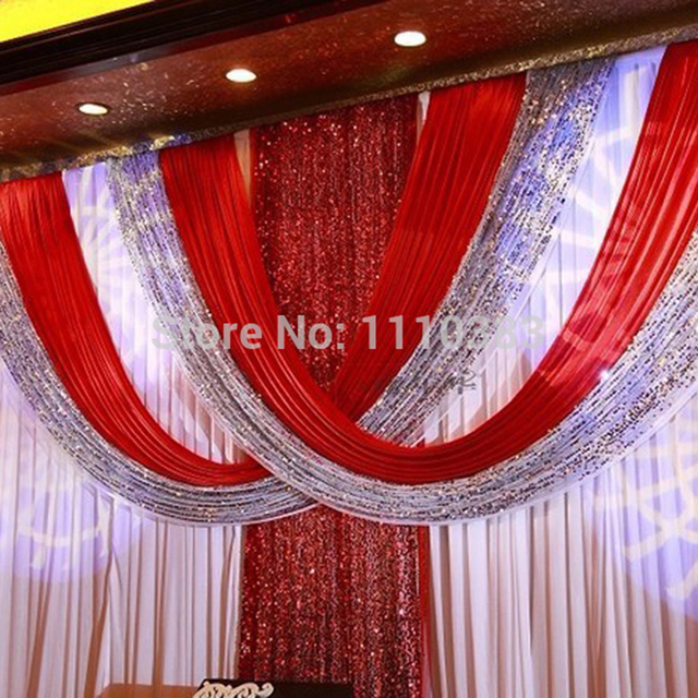 3m6m free shipping best quality red color shinning material red 3m6m free shipping best quality red color shinning material red wedding backdrop wedding curtains junglespirit Gallery