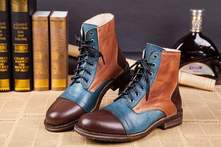 2018 г. Зимние Модные мужские ковбойские ботильоны коричневого и черного цвета модные повседневные мотоциклетные ботинки на шнуровке в 2 стил