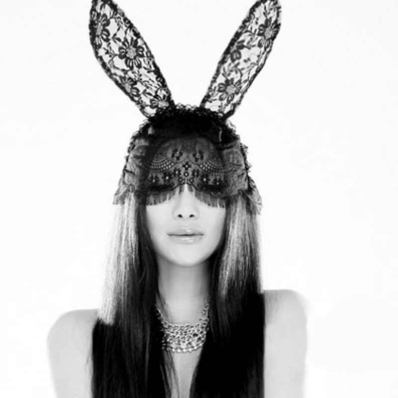 1pcs women girls anonymous mask with headwear rabbit ears sexy black veil lace mask masque masquerade masks halloween - Black Eye Mask Halloween