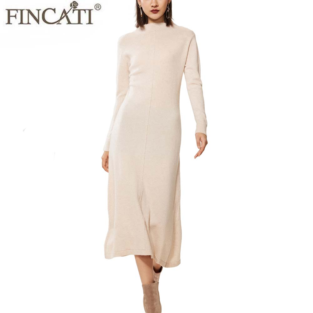 Longue robe en cachemire pull femmes haut de gamme 100% chèvre doux confortable demi col roulé décontracté manches longues une ligne Midi Vestidos élégant