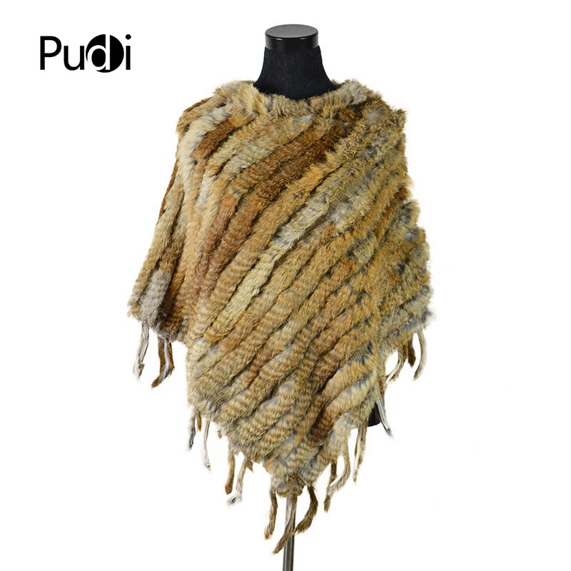 CK707 Real Knitted rabbit Shawl poncho stole encogimiento de hombros - Ropa de mujer