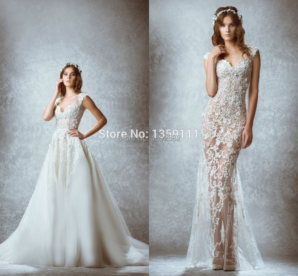 2015 Fashion Detachable Skirt Wedding Dress Zuhair Murad Lace Tulle ...