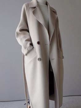 Women Wide Lapel Belt Wool Blend Long Coat
