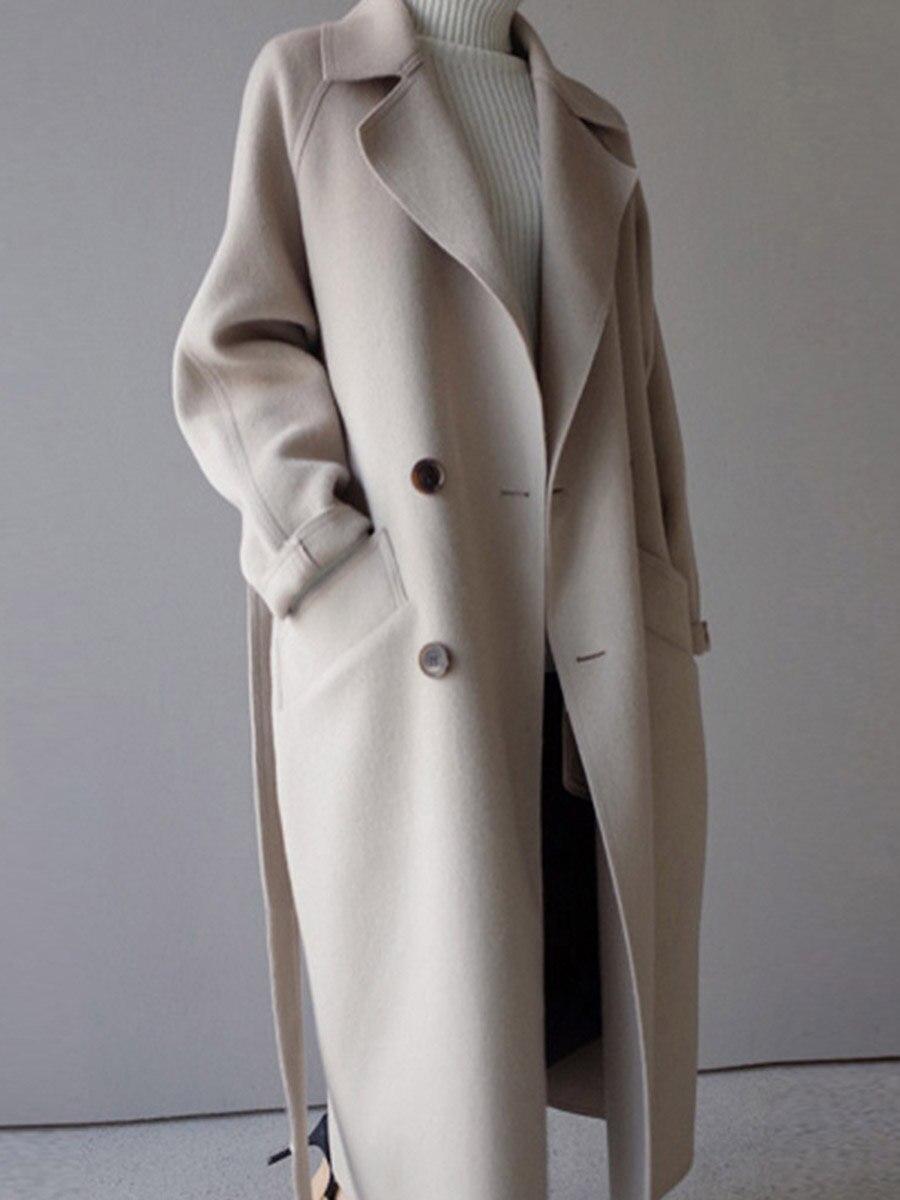 2018 hiver manteau femmes large revers ceinture poche laine mélange manteau Oversize Long Trench manteau Outwear laine manteau femmes