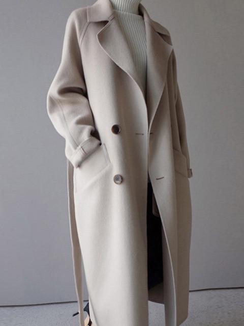 2018 зимнее пальто Для женщин широкий лацкан и пояс карман Полушерстяное пальто Oversize длинный плащ пальто шерстяное пальто Для женщин