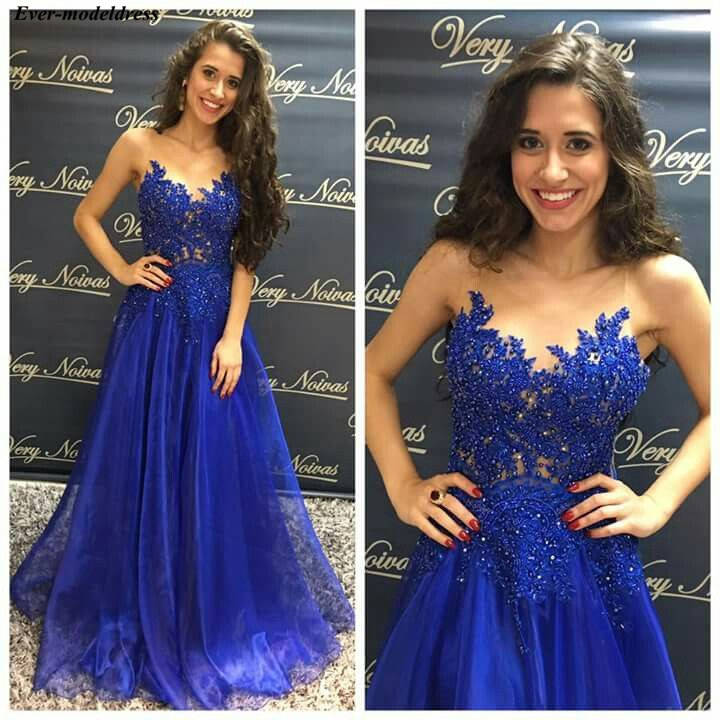 Royal Blue   Prom     Dresses   Long Lace Appliques Beaded Sheer O-Neck Button Back Organza Sexy Evening Party Gowns Robe De Soiree