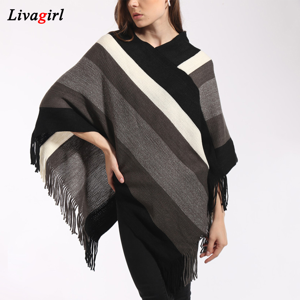 Women Autumn Winter Loose Knitted Striped Pullovers Poncho Sweather Female Vintage Tassel Sweater Poncho Warm Amice Cloak Shawl