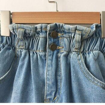 2018 Summer High Waist Denim Shorts Women Casual Loose Ladies Fashion Roll Up Hem Elastic Waist Pocket Blue White Jeans Female 2