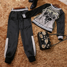 Summer Of 2017 New European High-end Fashion Ladies Embroidered Sweater + Pants Stretch Elastic Movement Suit