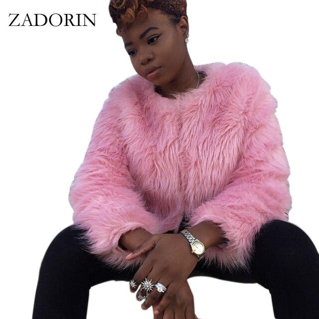 8ded9b12401 Fashion Women Colored Faux Fur Jacket Short Slim Black Pink Fur Coat Plush  Coats manteau fourrure femme chalecos de pelo mujer
