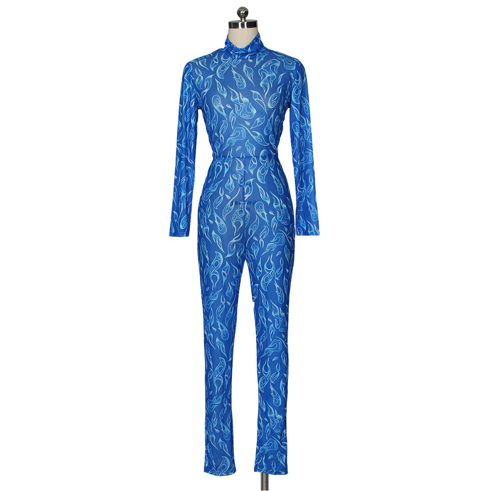 Fire Print Sheer Mesh Jumpsuit Turtleneck Long Sleeve Women Jumpsuit Sexy Night Club See Through Romper Bar Overalls Costumes