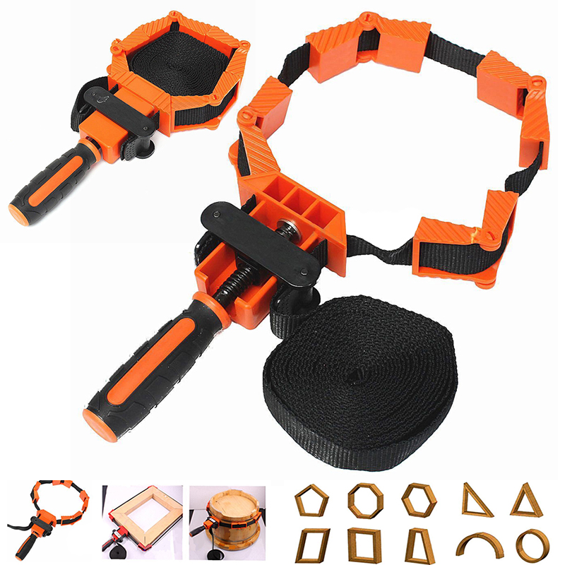Deylaying Corner Band Clamp DIY Hand Tools Corner Clamps with 90 Degree Adjustable Angle Wood Frame Holder Strap Clip for Woodworking