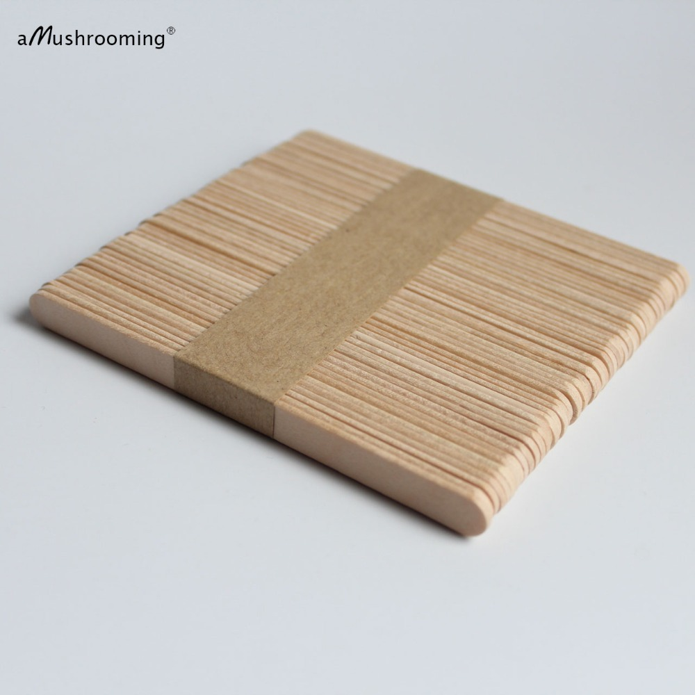 100pcs Natural Wood Sticks DIY Craft Popsicle Sticks for Ice Cream Plant Labels Wooden 114 x 10 x 2 mm Natural