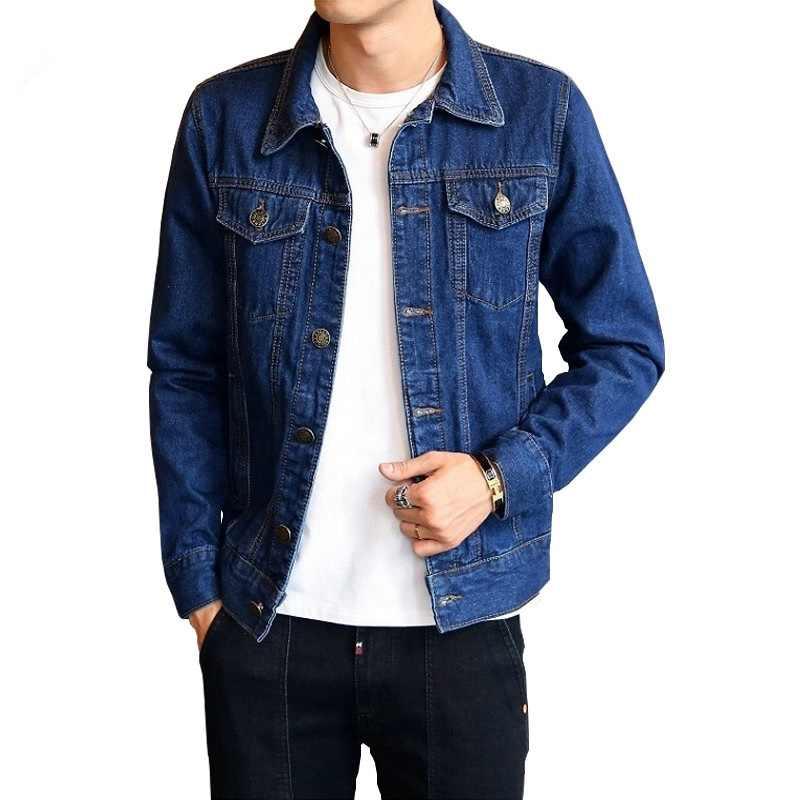 Весенняя Мужская модная джинсовая куртка, одноцветные джинсы с высокой талией, осенняя повседневная мужская Тонкая ковбойская верхняя одежда, топы