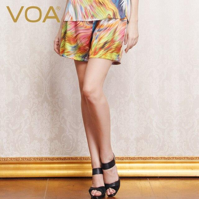 VOA 2017 летом новый шелковый печати шелковый сна топы женские брюки безопасности леггинсы домашнего интерьера гостиной K150