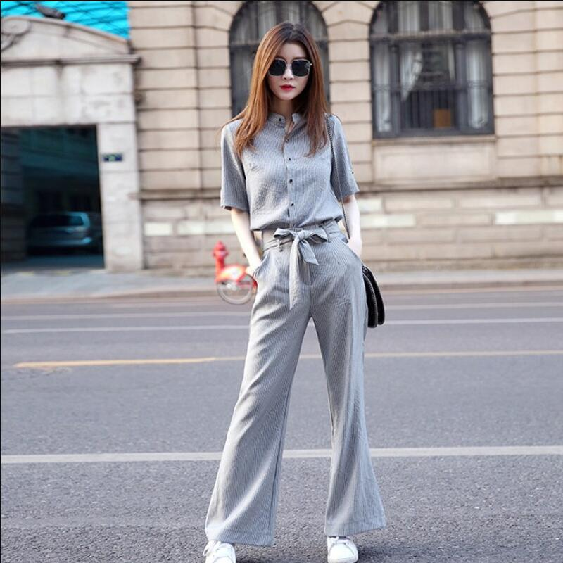 Summer Women Sets 2019 New Fashion Tops High waist Wid-leg Pants Two pieces Suits Casual Slim Large size Female Sets NZYD1343