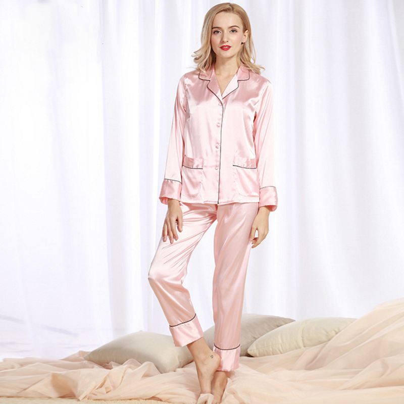 SSH0174 Spring Sleepwear Lady Sexy Pyjama Full Sleeves Long Pant 2 Pieces   Set   Pijama Satin Silk Nightwear Brand Women   Pajama     Set