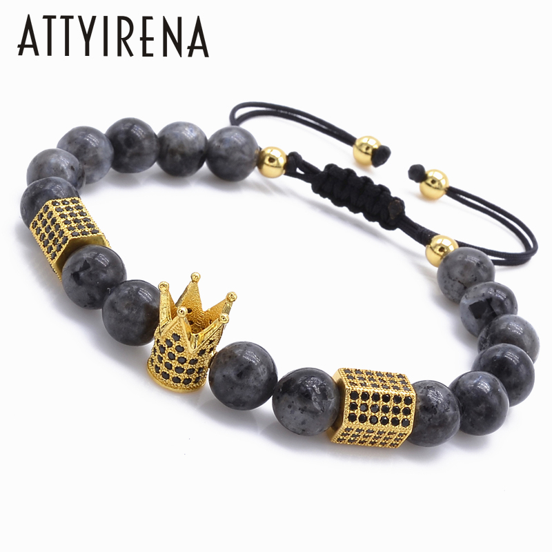 New design Trendy Imperial Crown&hexagon Charms Bracelets Men Natural Stone Light Beads For Women Men Braiding Macrame Bracelets