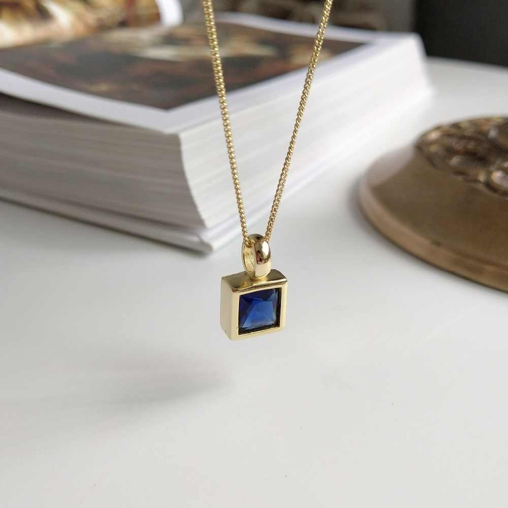 Korean Design 925 Sterling Silver Women Jewelry Geometric Square Deep Blue Crystal Pendant Necklace Short Neck Chain Necklace