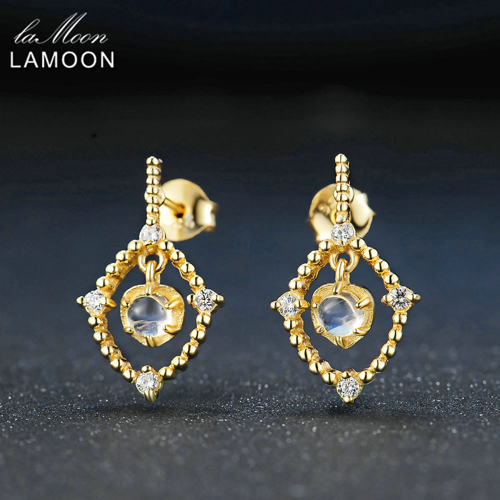 LAMOON Women Earrings 4mm Natural Ligth Blue Moonstone 925 sterling silver jewelry Romantic Suspension Fashion Stud Earring New
