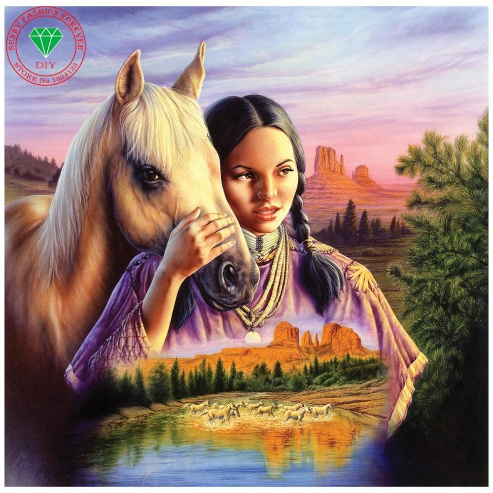 Mosaic 3D diy diamond painting Horse icon home decoration diamond embroidery Landscape style full square rhinestone crafts