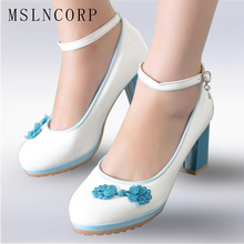 Size 34-51 women high heels Pumps spring autumn platform unique round toe sweet flower hot sale wedding Casual shoes footwear 2018 women pumps spring and autumn shoes super square high heels platform 2 5cm round toe shoes for women size