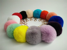 15 Color High Quality Rabbit Fur Ball  Bag Keychain Super soft Natural Genuine rex Rabbit Fur Ball Keychain Bag Charms best gift