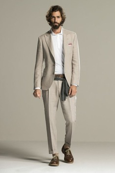 Tailor Beige Linen Summer Beach Mens Suit Groom Tuxedos Groomsmen Wedding Blazer Suits For Men Stylish 2pieces (Jacket+Pants)