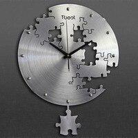 peculiar Living room wall clock fashion Large pocket watch metal art gear wall clock pendulum modern design clock