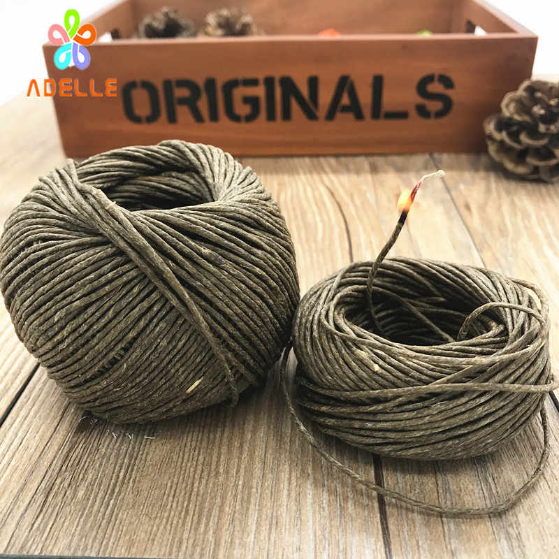 Organic 1.5mm* 50ft Hive Hemp Wick Bees Waxed hemp Twine Cord Line cigarette Lighter candel craft free shipping Alternative 15m