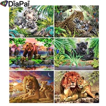 DIAPAI 5D DIY Diamond Painting 100% Full Square/Round Drill Animal lion tiger leopard 3D Embroidery Cross Stitch Home Decor diapai diamond painting 5d diy 100% full square round drill animal lion diamond embroidery cross stitch 3d decor a24702