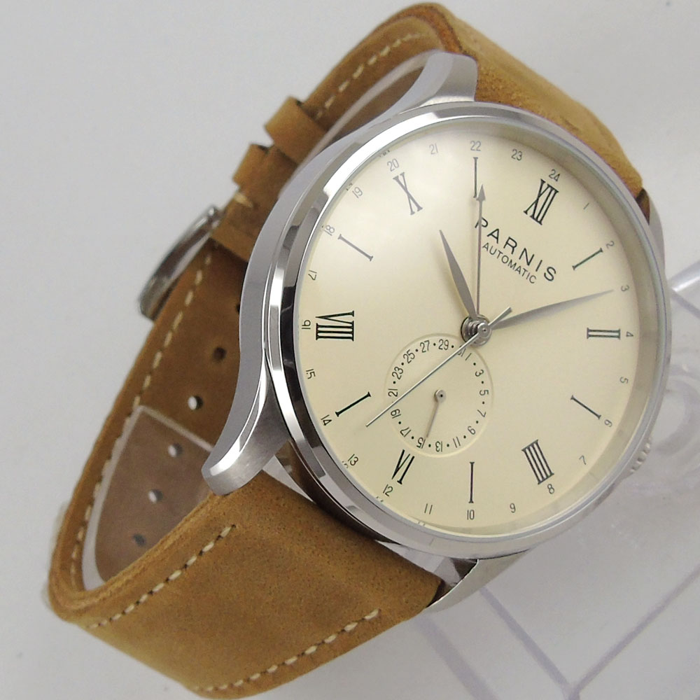 New 42mm Parnis off white dial Leather Strap top brand Luxury Crystal Complete Calendar ST 1690 Automatic movement Men's Watch crystal gayle st catharines