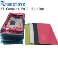 RTBESTOYZ Front Middle Frame Port Plug Cover Back Glass Battery Cover For Sony Xperia Z1 Compact mini D5503 M51W Full Housing