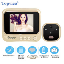Topvico Video Door Viewer Motion Detection Electronic Peephole Ring Doorbell Cam