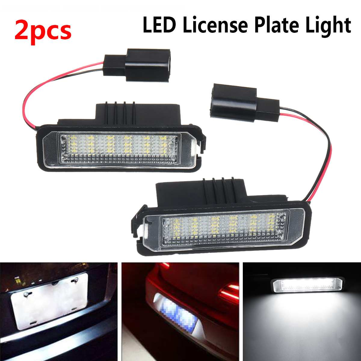 2Pcs 12V 5W LED Number License Plate Light Lamps for VW GOLF 4 6 Polo 9N for Passat Car License Plate Lights Exterior Access(China)