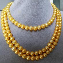 8-9 mm round natural south sea gold pearl necklace 60