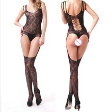 Sexy Lace Temptation Flirt Perspective Whole body Hollow Out Open Files Jacquard Costume Coveralls Netting Women Sex Products